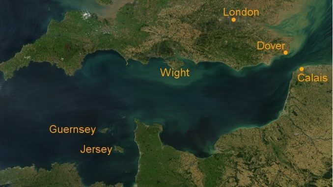 Kanalinseln im Ärmelkanal auf einem Satellitenfoto