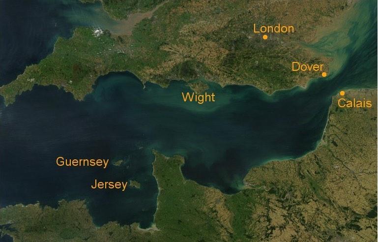 Die Kanalinseln im Ärmelkanal - Satellitenbild
