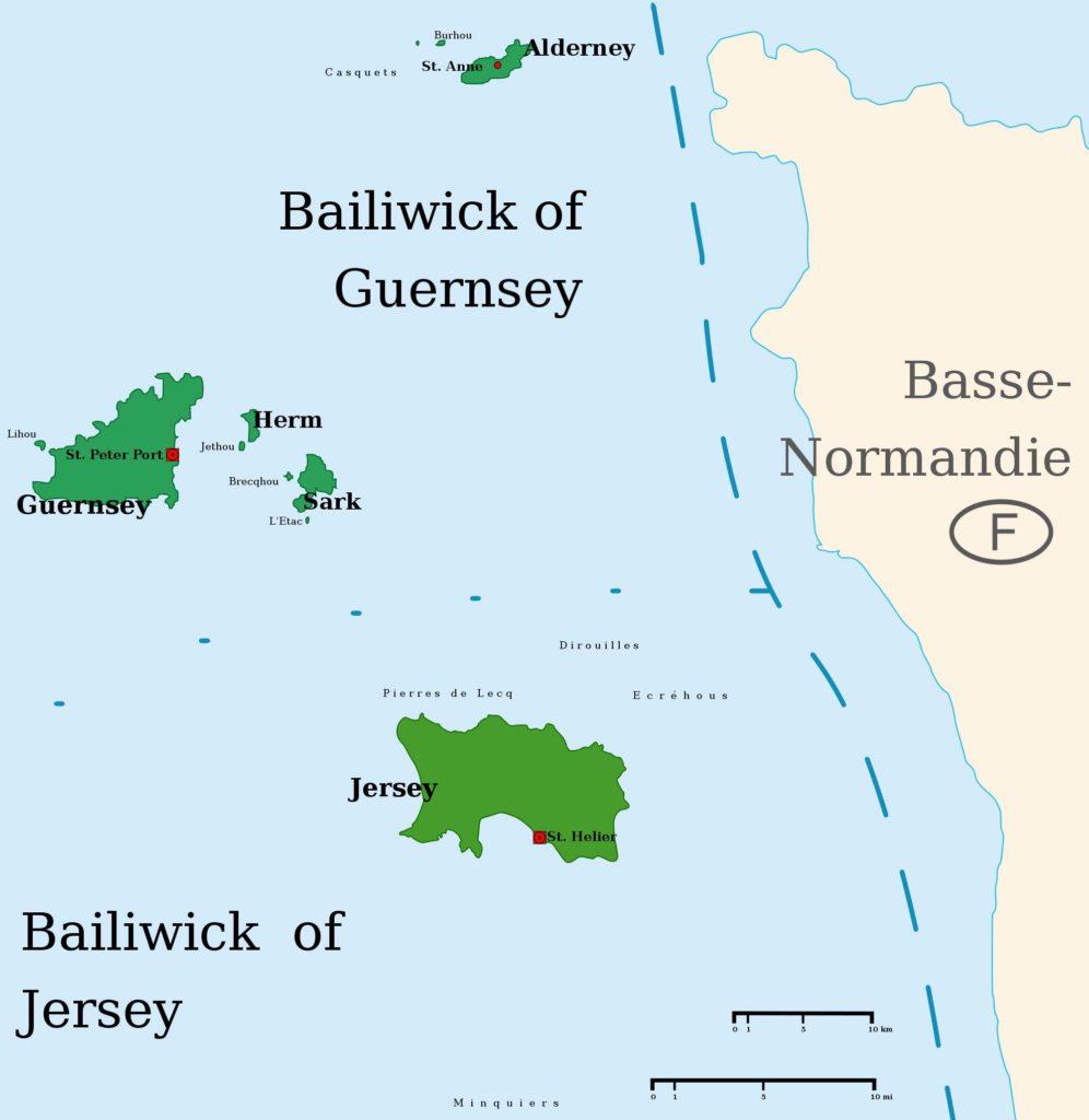 Übersichtskarte der britischen Kanalinseln