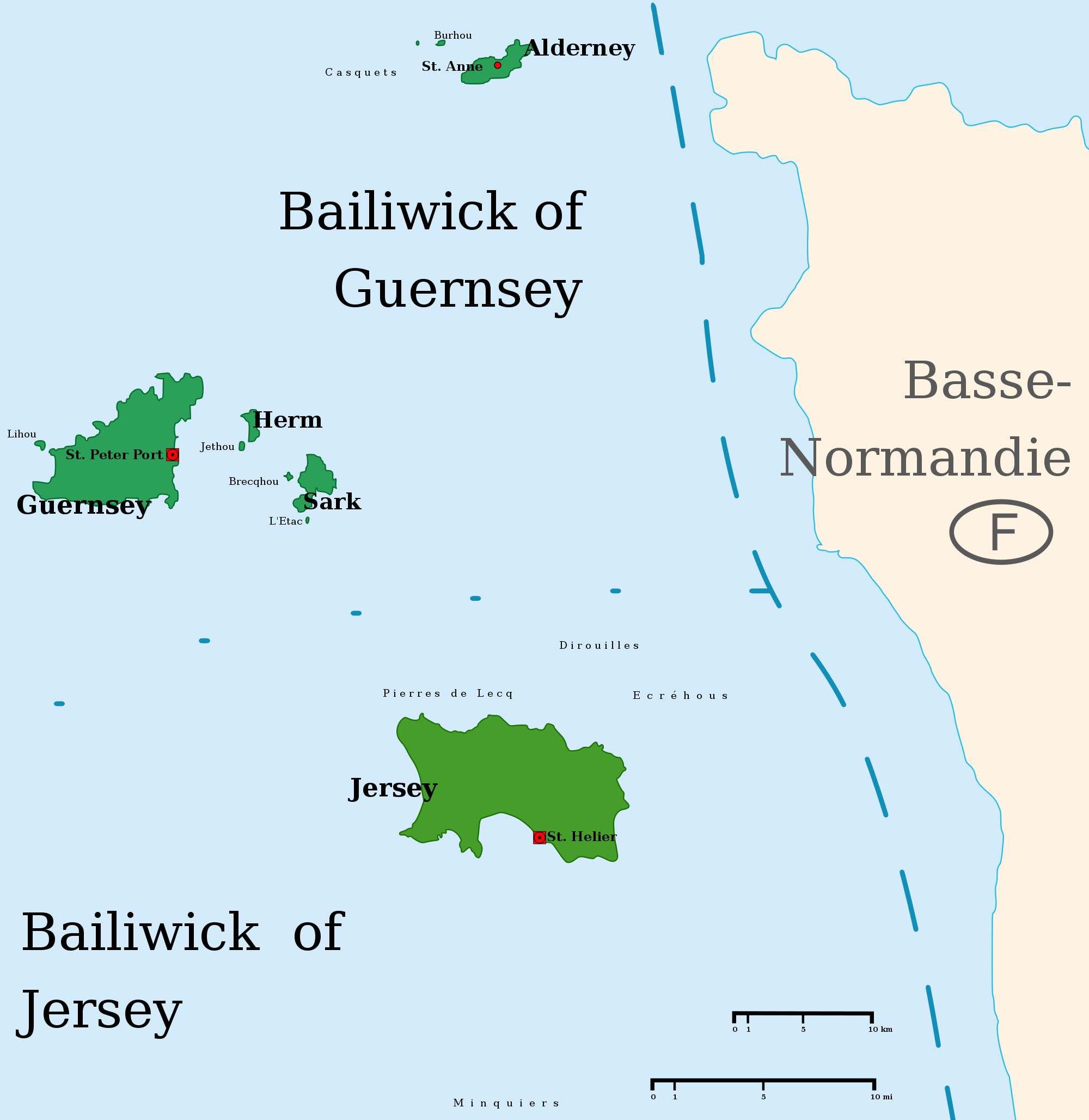 Karte der Kanalinseln