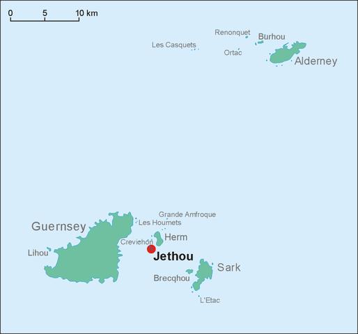 Die Position der Insel Jethou innerhalb der Kanalinseln