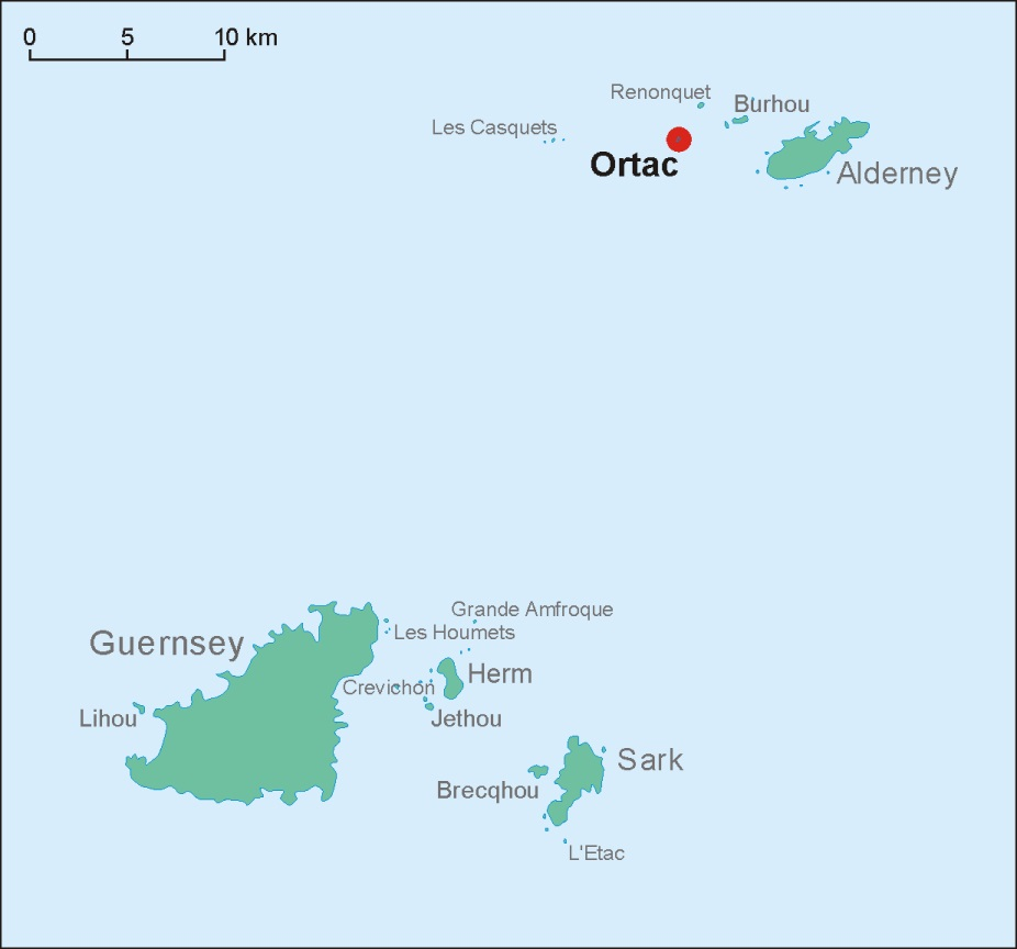 Die Felseninsel Ortac westlich von Alderney