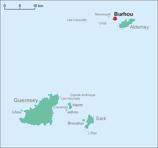 Die Position der Insel Burhou nahe Alderney
