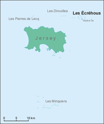 Die Position der Inselgruppe Ecrehous bzw Ecrehos nahe Jersey