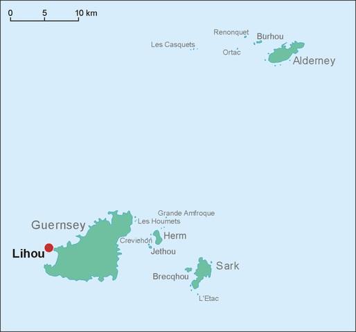 Die Position der Kanalinsel Lihou westlich von Guernsey