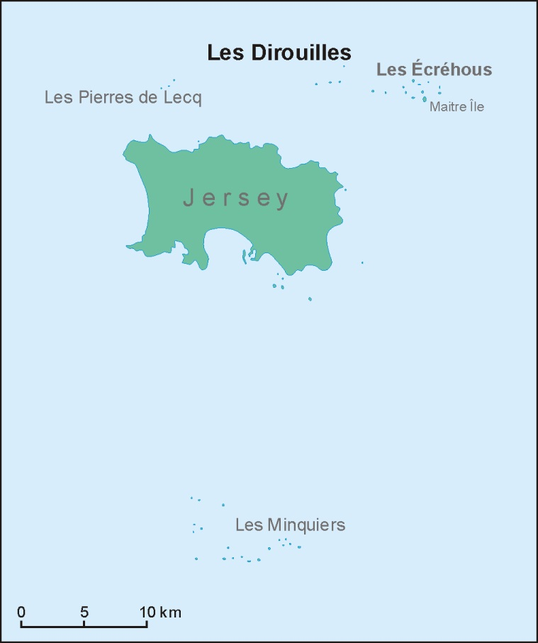 Die Position der Les Dirouilles nördlich von Jersey