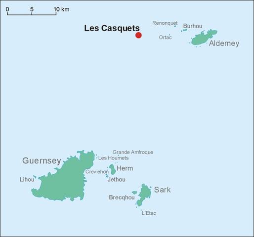 Die Position von Les Casquets westlich von Alderney