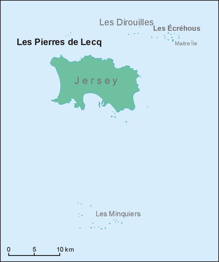 Position der Les Pierres de Lecqnördlich von Jersey
